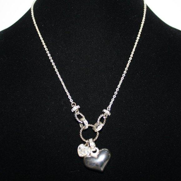 "Silver rhinestone heart necklace 17-20"""